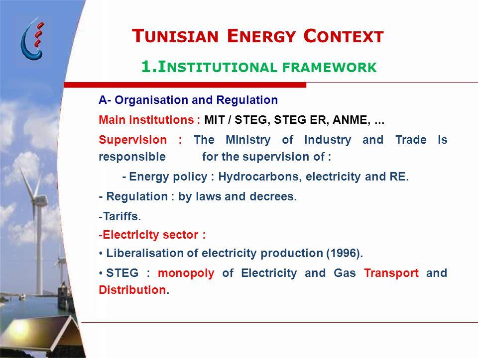 T UNISIAN E NERGY C ONTEXT 1.I NSTITUTIONAL FRAMEWORK A- Organisation and Regulation Main institutions : MIT / STEG, STEG ER, ANME,... Supervision : T