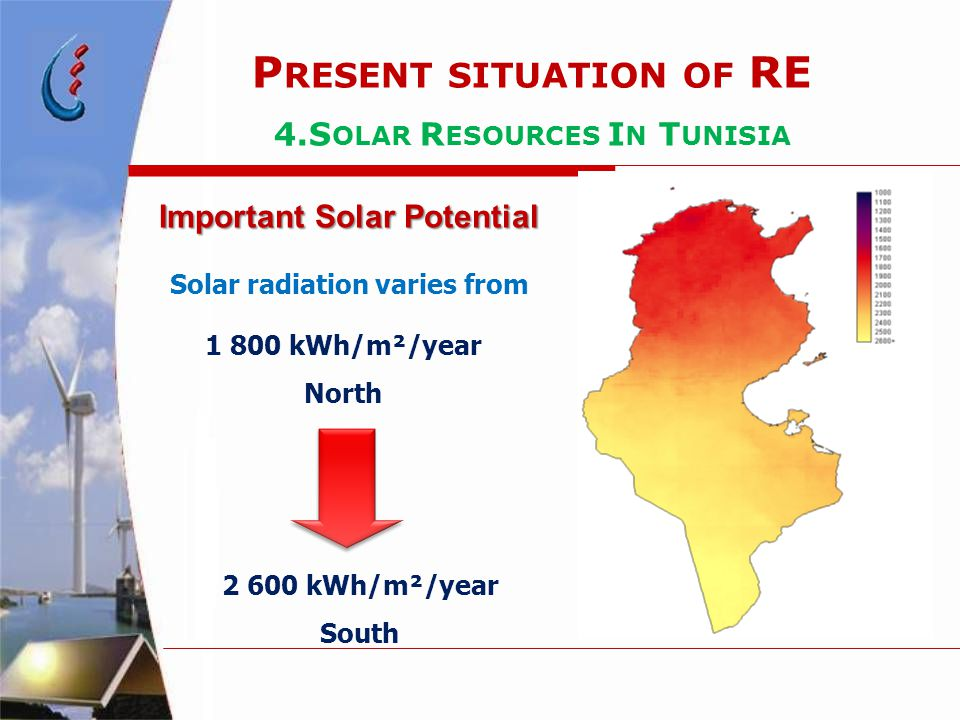 1 800 kWh/m²/year North 2 600 kWh/m²/year South Important Solar Potential P RESENT SITUATION OF RE 4.S OLAR R ESOURCES I N T UNISIA Solar radiation varies from