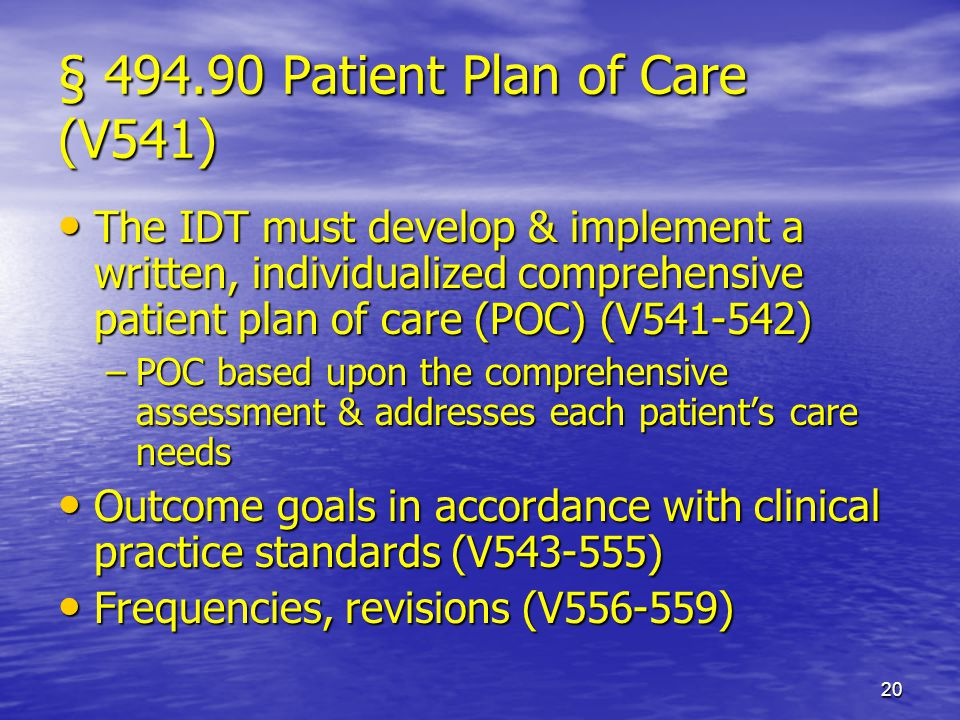 20 § 494.90 Patient Plan of Care (V541) The IDT must develop & implement a written, individualized comprehensive patient plan of care (POC) (V541-542)