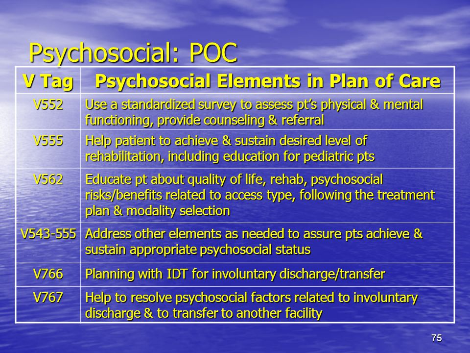 75 Psychosocial: POC V Tag Psychosocial Elements in Plan of Care V552 Use a standardized survey to assess pts physical & mental functioning, provide c
