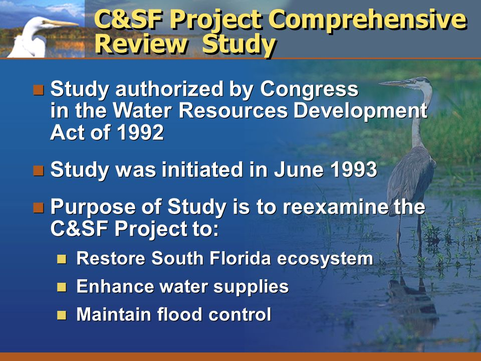 C&SF Project Comprehensive Review Study Study authorized by Congress in the Water Resources Development Act of 1992 Study was initiated in June 1993 P