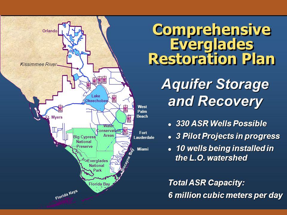 Aquifer Storage and Recovery Comprehensive Everglades Restoration Plan l 330 ASR Wells Possible l 3 Pilot Projects in progress l 10 wells being instal