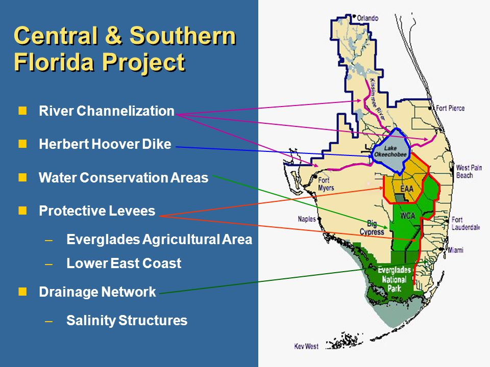 Central & Southern Florida Project nRiver Channelization nHerbert Hoover Dike nWater Conservation Areas nProtective Levees –Everglades Agricultural Ar