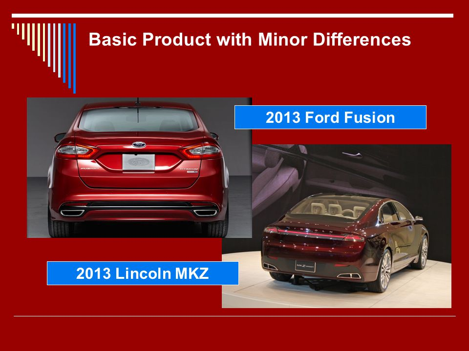 Basic Product with Minor Differences 2013 Ford Fusion 2013 Lincoln MKZ