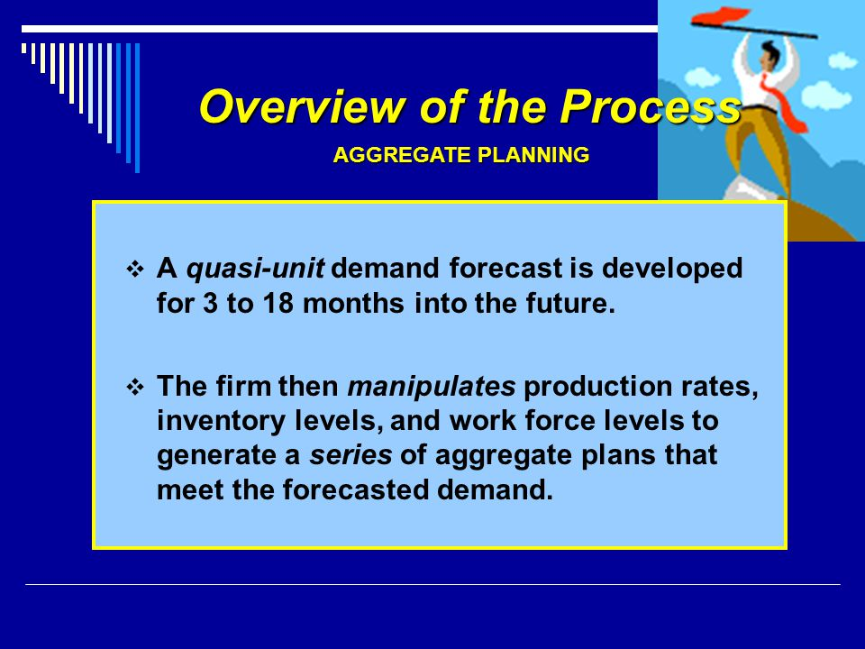 Overview of the Process A quasi-unit demand forecast is developed for 3 to 18 months into the future. The firm then manipulates production rates, inve