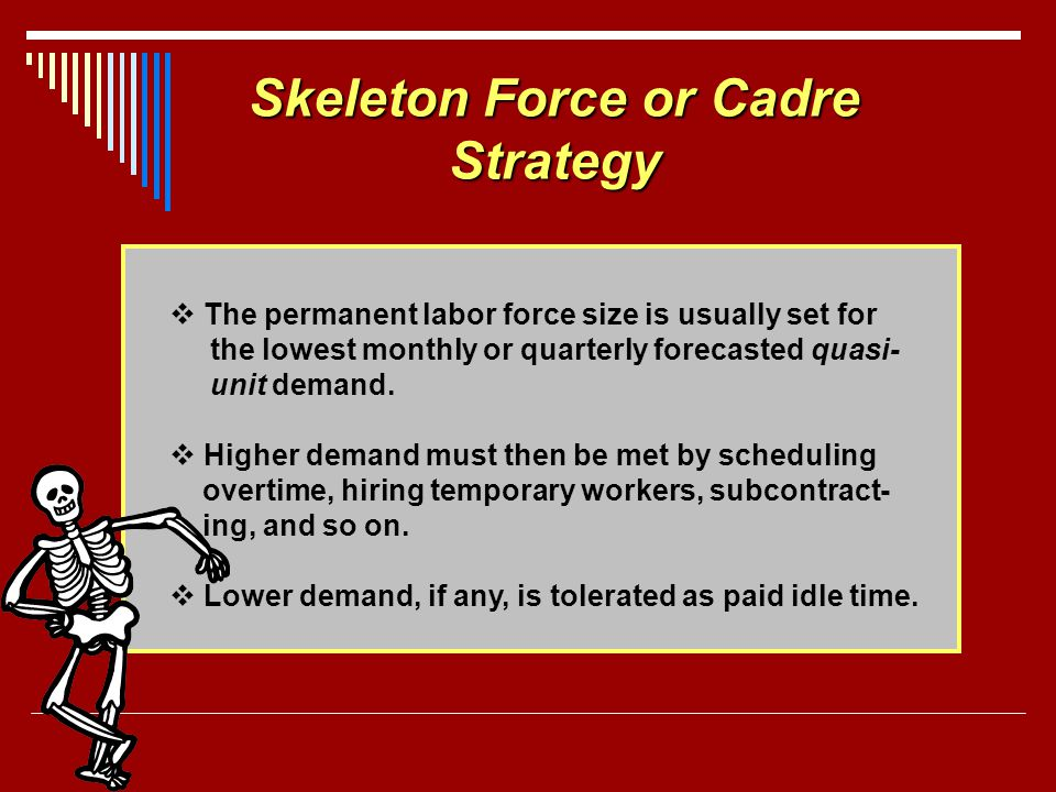 Skeleton Force or Cadre Strategy The permanent labor force size is usually set for the lowest monthly or quarterly forecasted quasi- unit demand. High