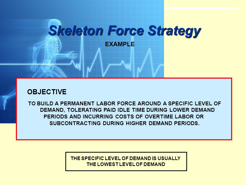 Skeleton Force Strategy EXAMPLE OBJECTIVE TO BUILD A PERMANENT LABOR FORCE AROUND A SPECIFIC LEVEL OF DEMAND, TOLERATING PAID IDLE TIME DURING LOWER D