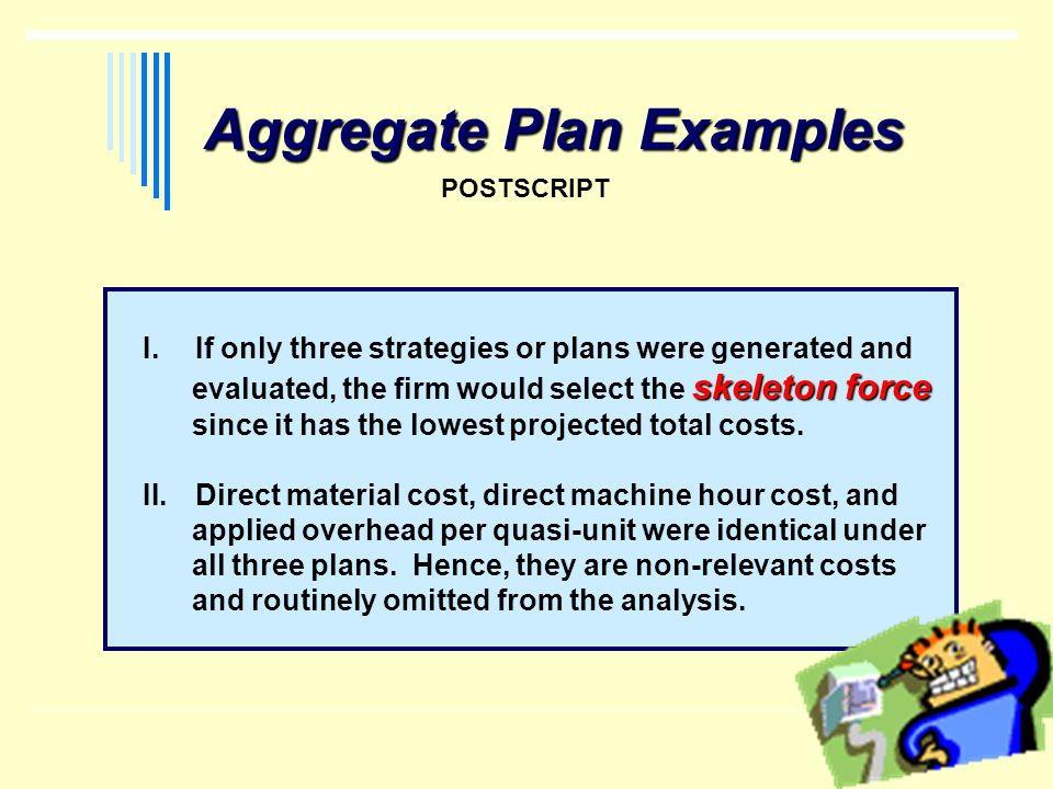 Aggregate Plan Examples POSTSCRIPT I.If only three strategies or plans were generated and skeleton force evaluated, the firm would select the skeleton