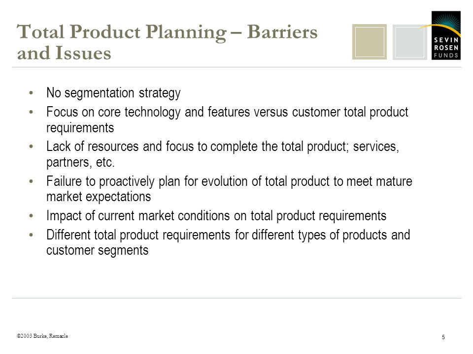 ©2003 Burke, Remacle 5 Total Product Planning – Barriers and Issues No segmentation strategy Focus on core technology and features versus customer tot