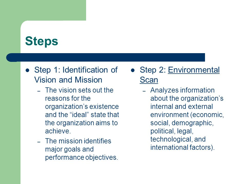 Steps Step 1: Identification of Vision and Mission – The vision sets out the reasons for the organizations existence and the ideal state that the organization aims to achieve.