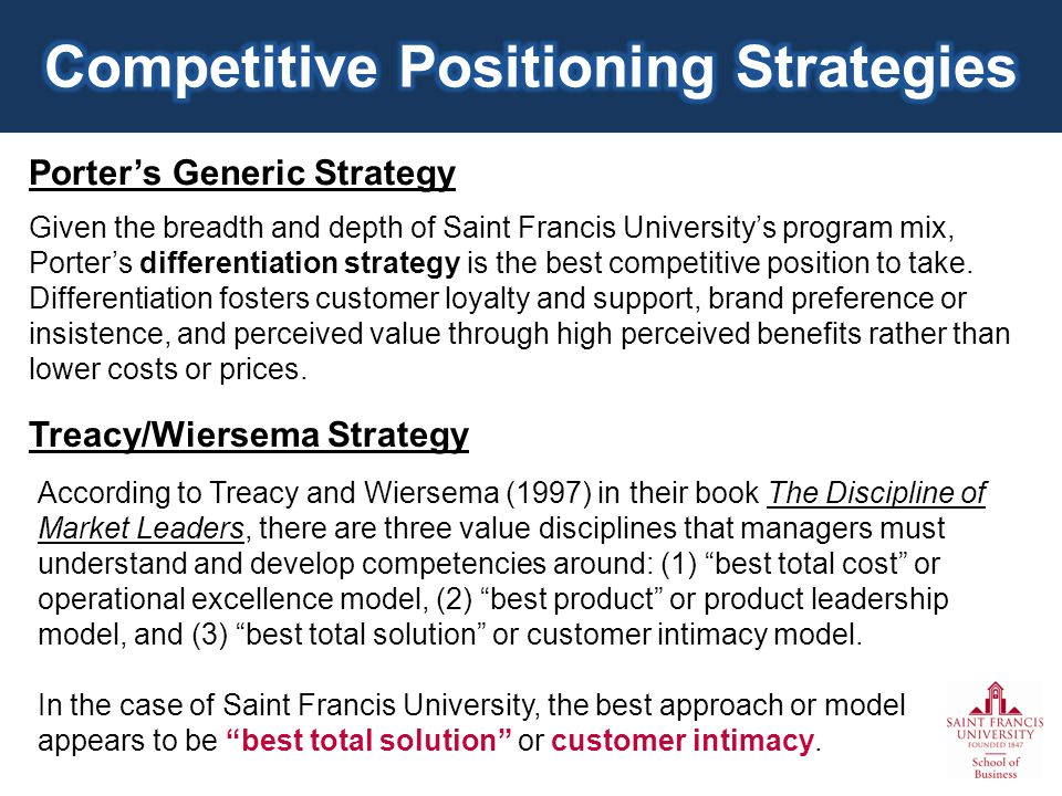 Porters Generic Strategy Given the breadth and depth of Saint Francis Universitys program mix, Porters differentiation strategy is the best competitive position to take.