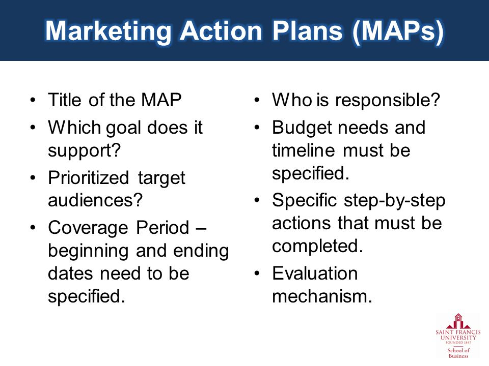 Title of the MAP Which goal does it support.Prioritized target audiences.