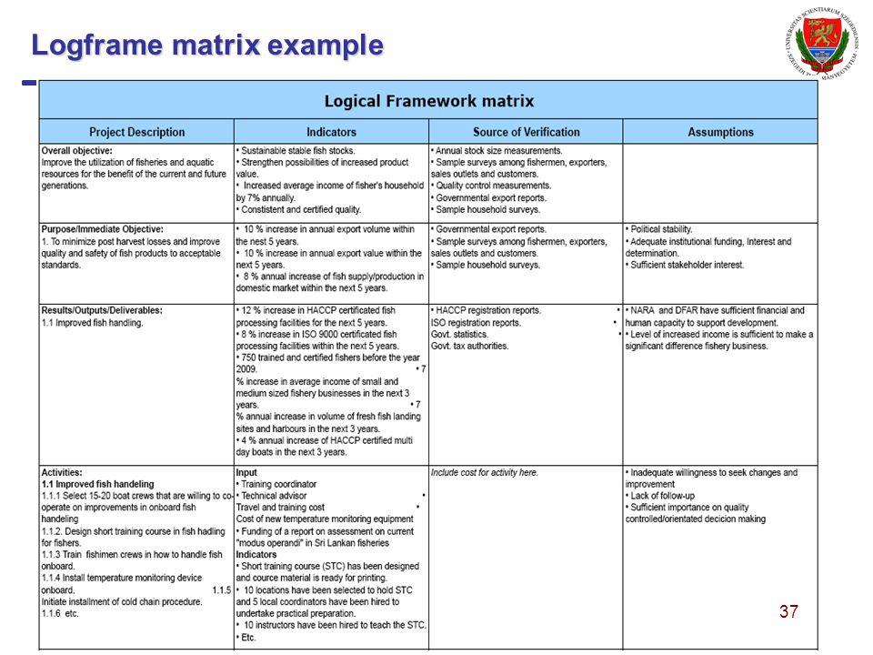 Logframe matrix example 37