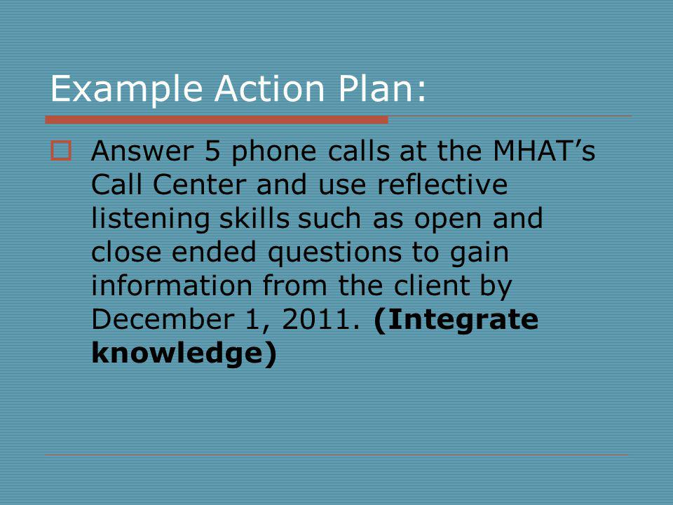 Example Action Plan: Answer 5 phone calls at the MHATs Call Center and use reflective listening skills such as open and close ended questions to gain information from the client by December 1, 2011.