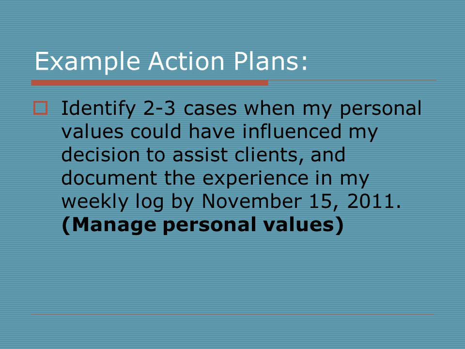 Example Action Plans: Identify 2-3 cases when my personal values could have influenced my decision to assist clients, and document the experience in my weekly log by November 15, 2011.
