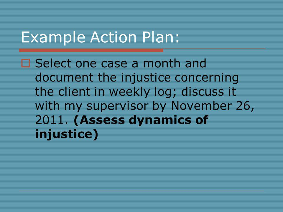 Example Action Plan: Select one case a month and document the injustice concerning the client in weekly log; discuss it with my supervisor by November 26, 2011.