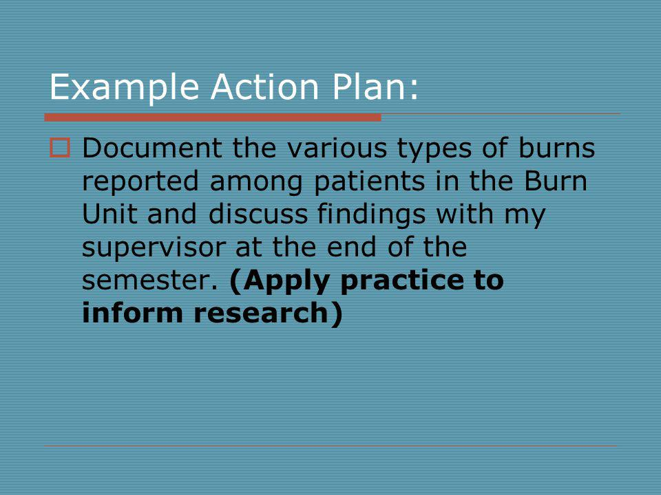 Example Action Plan: Document the various types of burns reported among patients in the Burn Unit and discuss findings with my supervisor at the end of the semester.