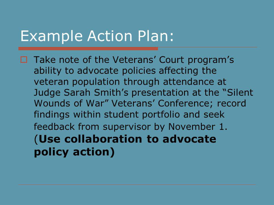 Example Action Plan: Take note of the Veterans Court programs ability to advocate policies affecting the veteran population through attendance at Judge Sarah Smiths presentation at the Silent Wounds of War Veterans Conference; record findings within student portfolio and seek feedback from supervisor by November 1.