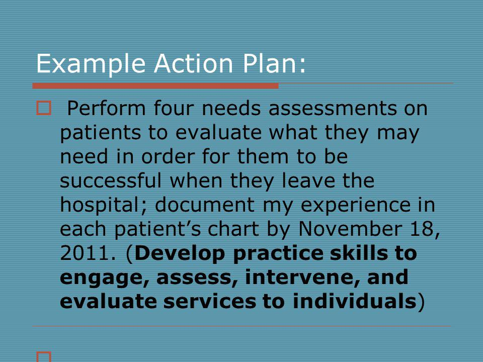Example Action Plan: Perform four needs assessments on patients to evaluate what they may need in order for them to be successful when they leave the hospital; document my experience in each patients chart by November 18, 2011.