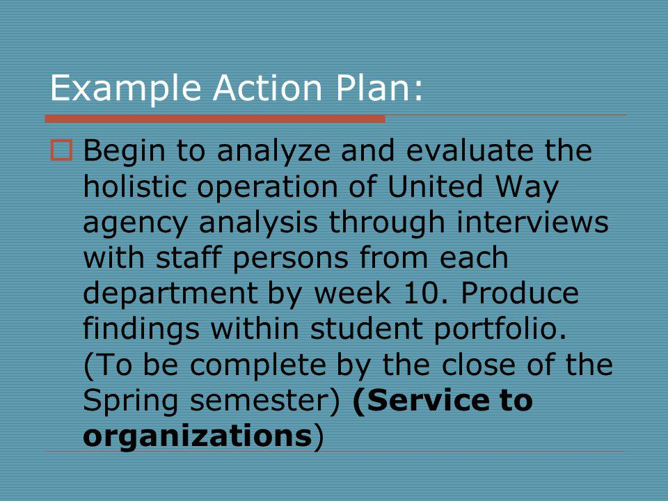 Example Action Plan: Begin to analyze and evaluate the holistic operation of United Way agency analysis through interviews with staff persons from each department by week 10.
