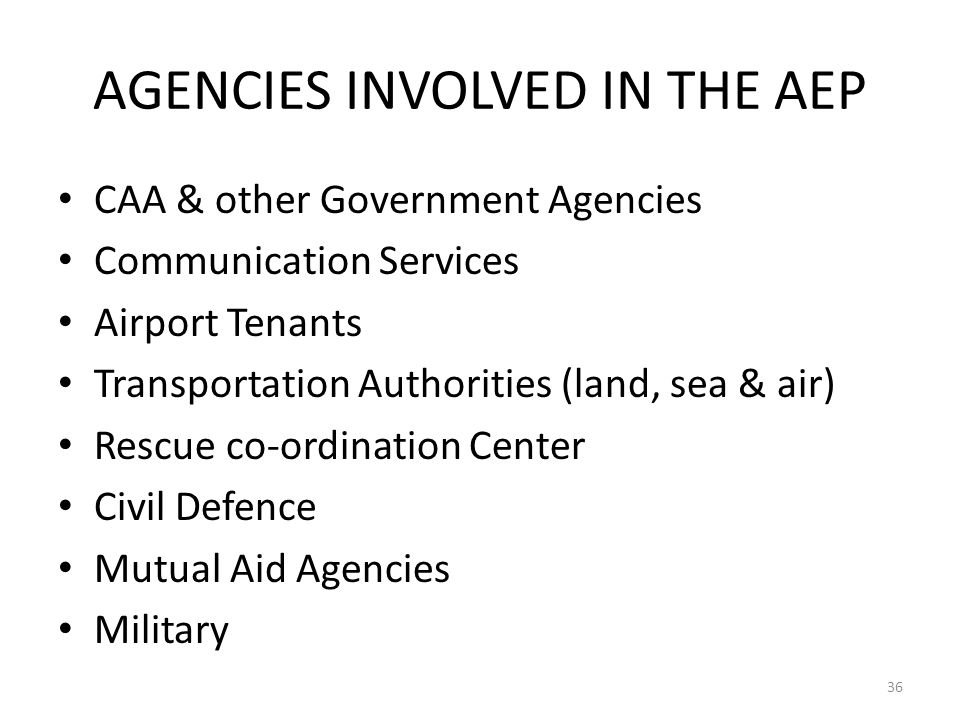 AGENCIES INVOLVED IN THE AEP CAA & other Government Agencies Communication Services Airport Tenants Transportation Authorities (land, sea & air) Rescu