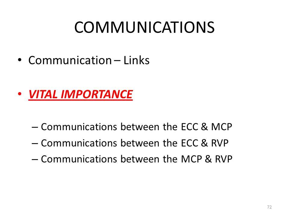 COMMUNICATIONS Communication – Links VITAL IMPORTANCE – Communications between the ECC & MCP – Communications between the ECC & RVP – Communications between the MCP & RVP 72