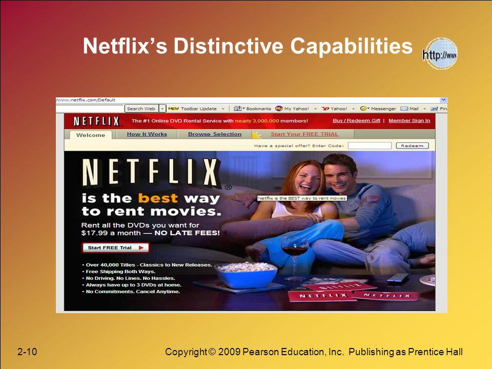2-10Copyright © 2009 Pearson Education, Inc. Publishing as Prentice Hall Netflixs Distinctive Capabilities