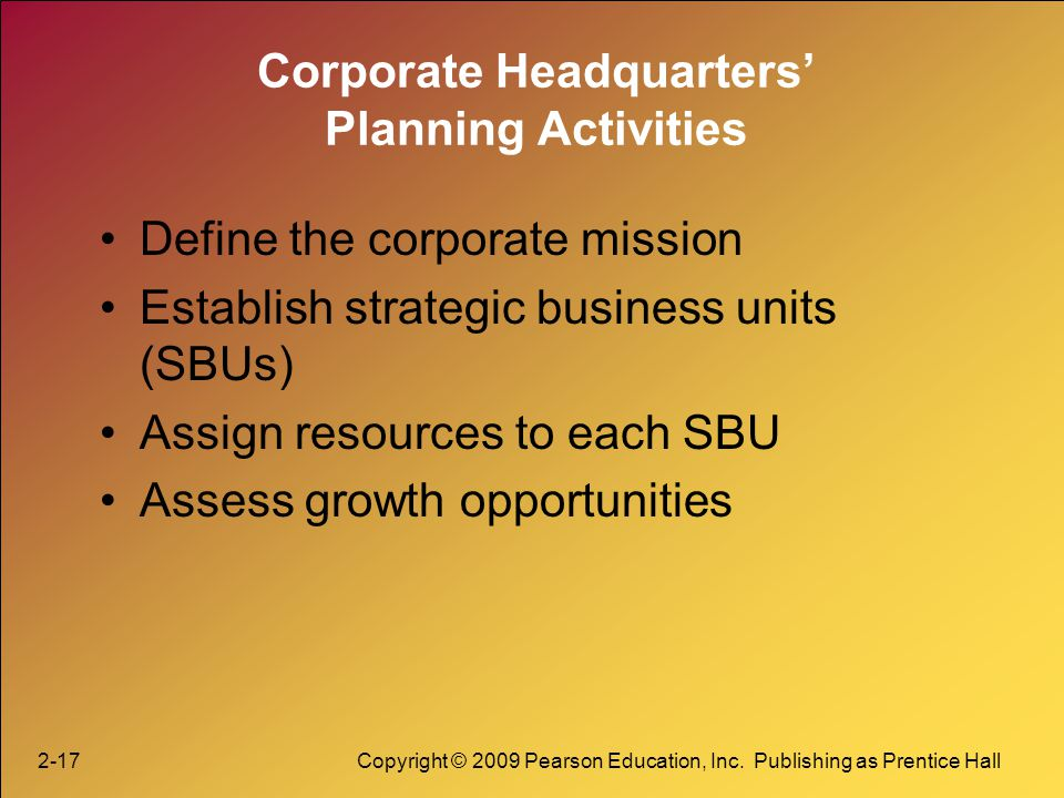 2-17Copyright © 2009 Pearson Education, Inc. Publishing as Prentice Hall Corporate Headquarters Planning Activities Define the corporate mission Estab