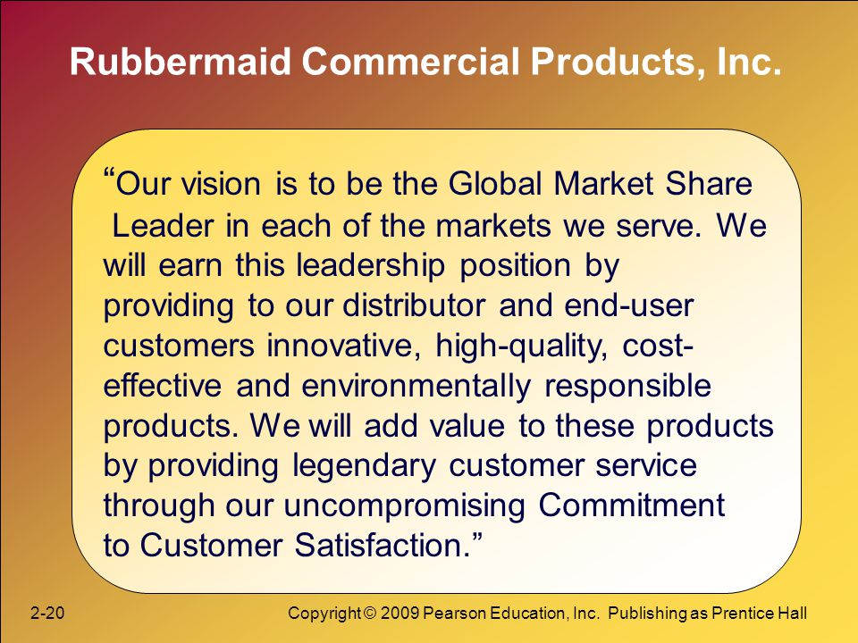 2-20Copyright © 2009 Pearson Education, Inc. Publishing as Prentice Hall Rubbermaid Commercial Products, Inc. Our vision is to be the Global Market Sh