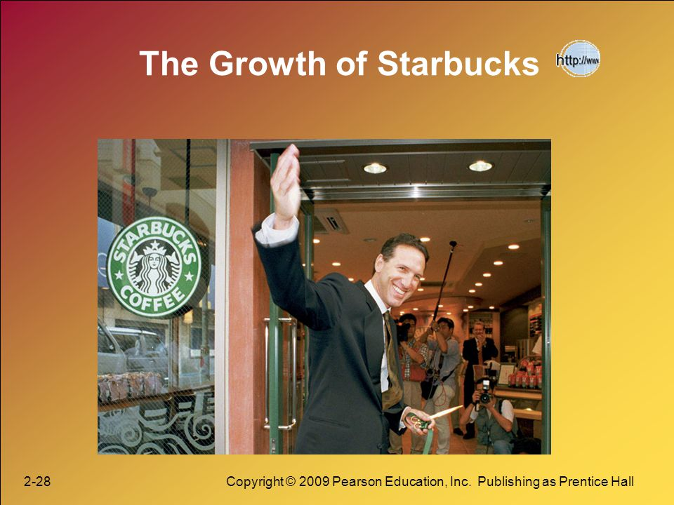 2-28Copyright © 2009 Pearson Education, Inc. Publishing as Prentice Hall The Growth of Starbucks