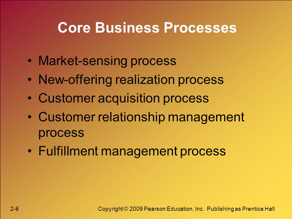 2-8Copyright © 2009 Pearson Education, Inc. Publishing as Prentice Hall Core Business Processes Market-sensing process New-offering realization proces