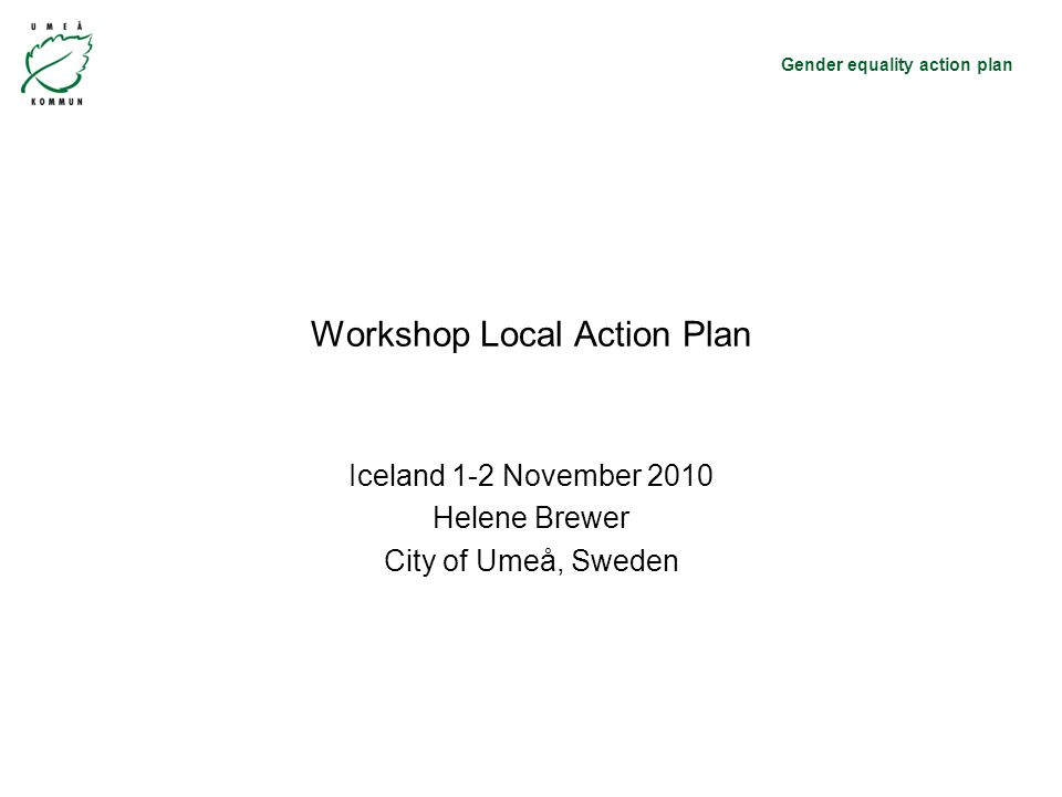 Gender equality action plan Workshop Local Action Plan Iceland 1-2 November 2010 Helene Brewer City of Umeå, Sweden