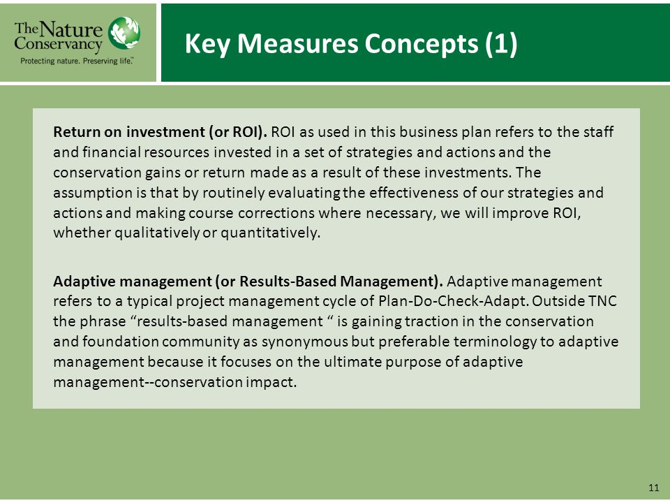 Key Measures Concepts (1) Return on investment (or ROI).