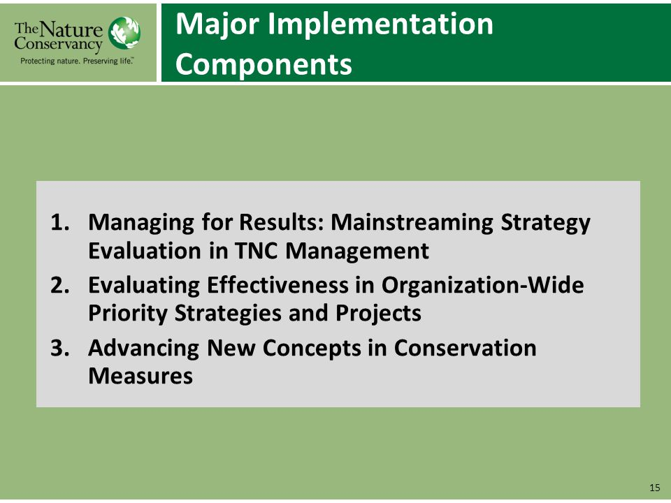 Major Implementation Components 1.Managing for Results: Mainstreaming Strategy Evaluation in TNC Management 2.Evaluating Effectiveness in Organization
