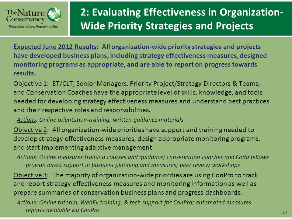 2: Evaluating Effectiveness in Organization- Wide Priority Strategies and Projects Expected June 2012 Results: All organization-wide priority strategi