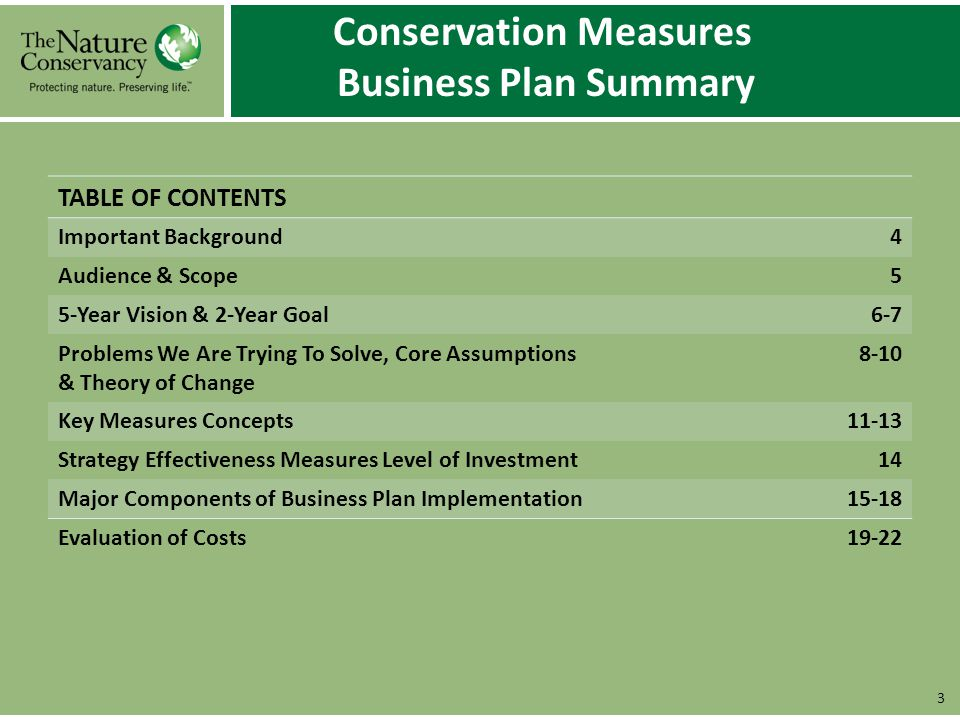 Conservation Measures Business Plan Summary 3 TABLE OF CONTENTS Important Background4 Audience & Scope5 5-Year Vision & 2-Year Goal6-7 Problems We Are