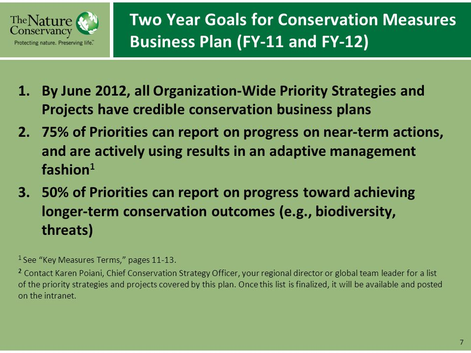 Two Year Goals for Conservation Measures Business Plan (FY-11 and FY-12) 1.By June 2012, all Organization-Wide Priority Strategies and Projects have c