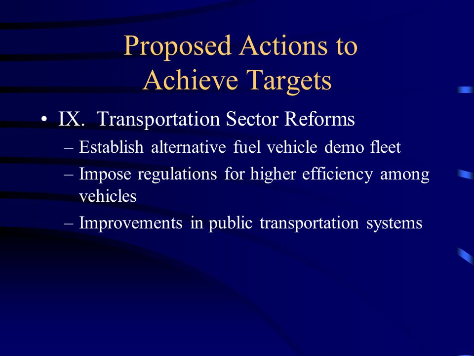 Proposed Actions to Achieve Targets IX.
