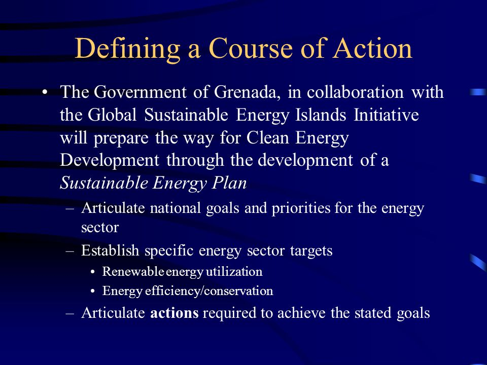 Elements of a Sustainable Energy Plan I.