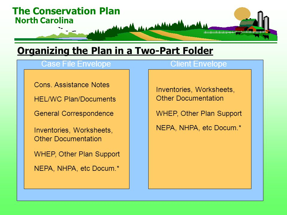 Organizing the Plan in a Two-Part Folder The Conservation Plan North Carolina Cons.