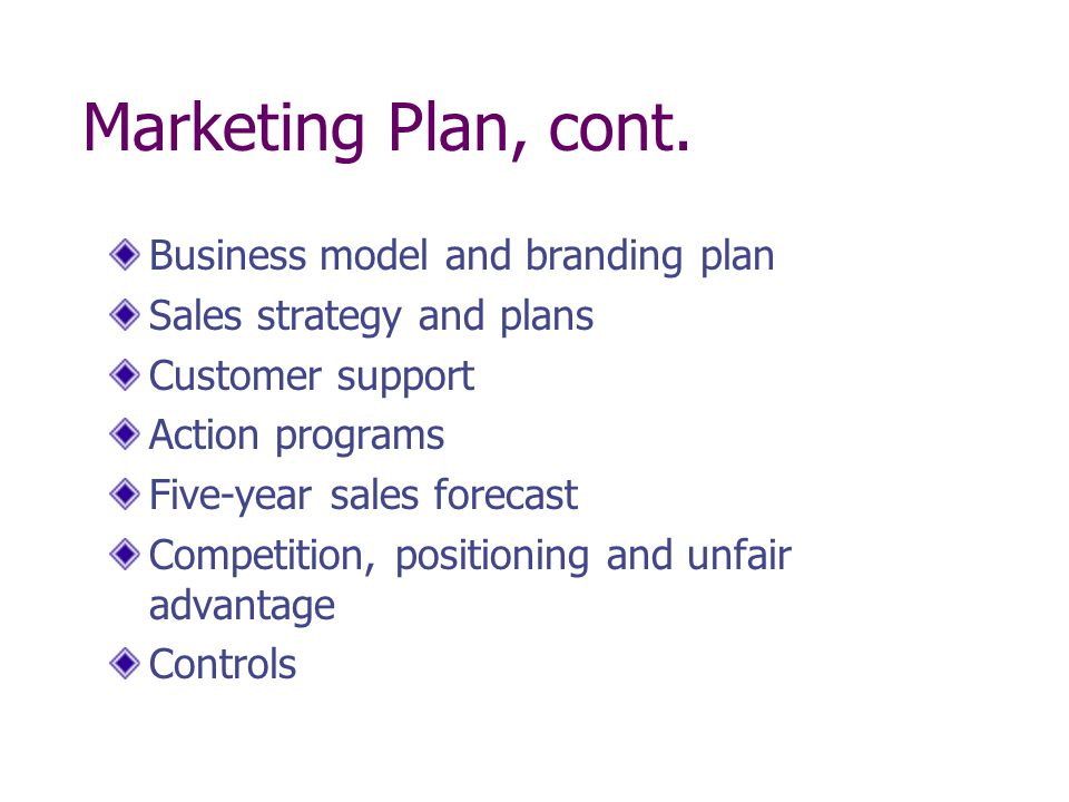 Marketing Plan, cont. Business model and branding plan Sales strategy and plans Customer support Action programs Five-year sales forecast Competition,