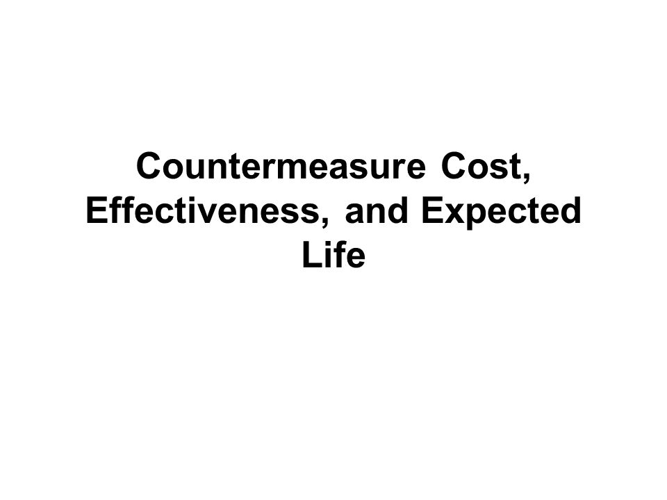 Countermeasure Cost, Effectiveness, and Expected Life