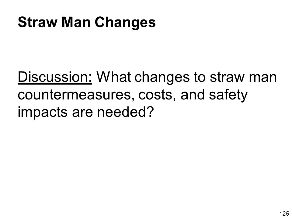 125 Straw Man Changes Discussion: What changes to straw man countermeasures, costs, and safety impacts are needed