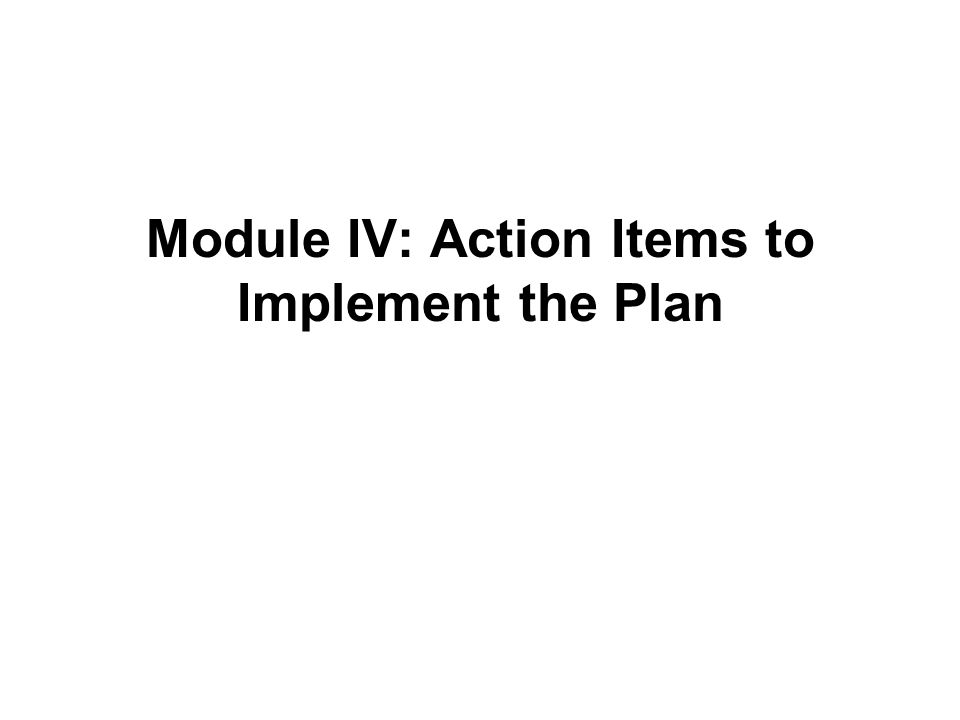 Module IV: Action Items to Implement the Plan