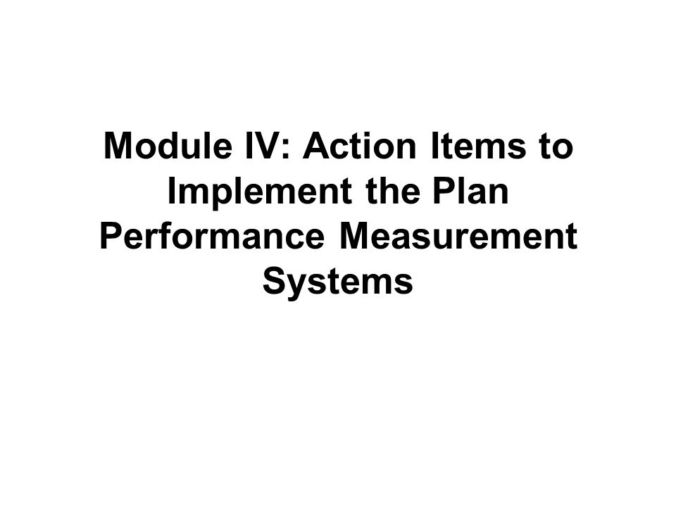 Module IV: Action Items to Implement the Plan Performance Measurement Systems