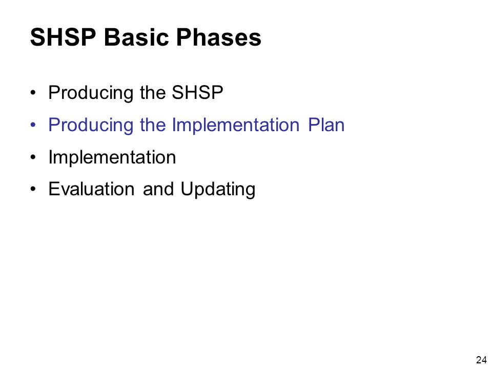 24 SHSP Basic Phases Producing the SHSP Producing the Implementation Plan Implementation Evaluation and Updating