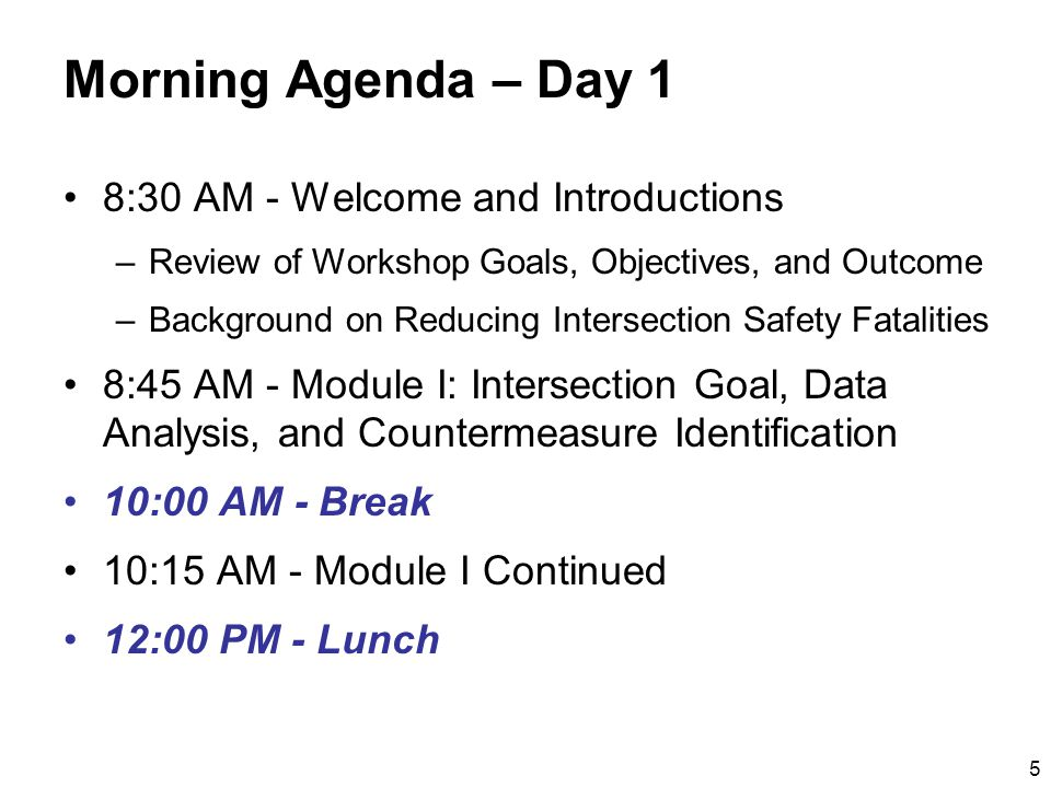 6 Afternoon Agenda – Day 1 1:00 PM - Module II: Putting It All Together 2:45 PM - Break 3:00 PM - Module II Continued Straw Man Set of Countermeasures, Deployment Characteristics, Costs, and Lives Saved 4:30 PM - Adjourn