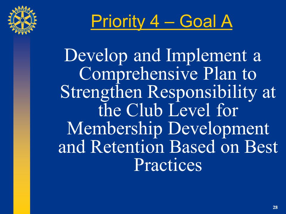 28 Priority 4 – Goal A Develop and Implement a Comprehensive Plan to Strengthen Responsibility at the Club Level for Membership Development and Retention Based on Best Practices