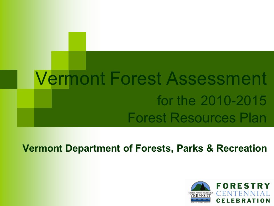 Vermont Forest Assessment for the 2010-2015 Forest Resources Plan Vermont Department of Forests, Parks & Recreation
