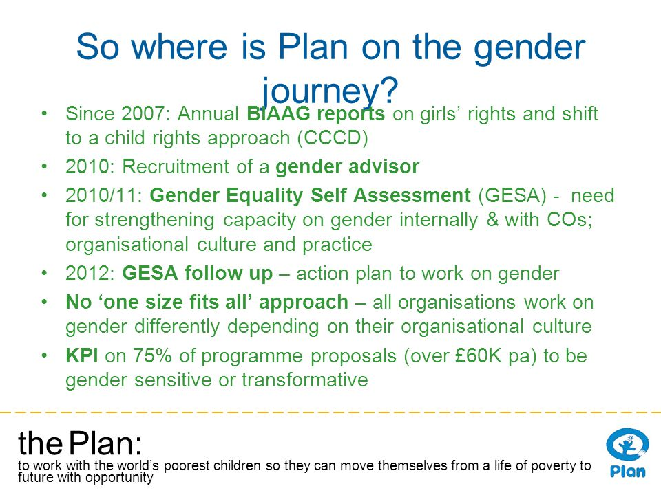 the Plan: to work with the worlds poorest children so they can move themselves from a life of poverty to a future with opportunity So where is Plan on